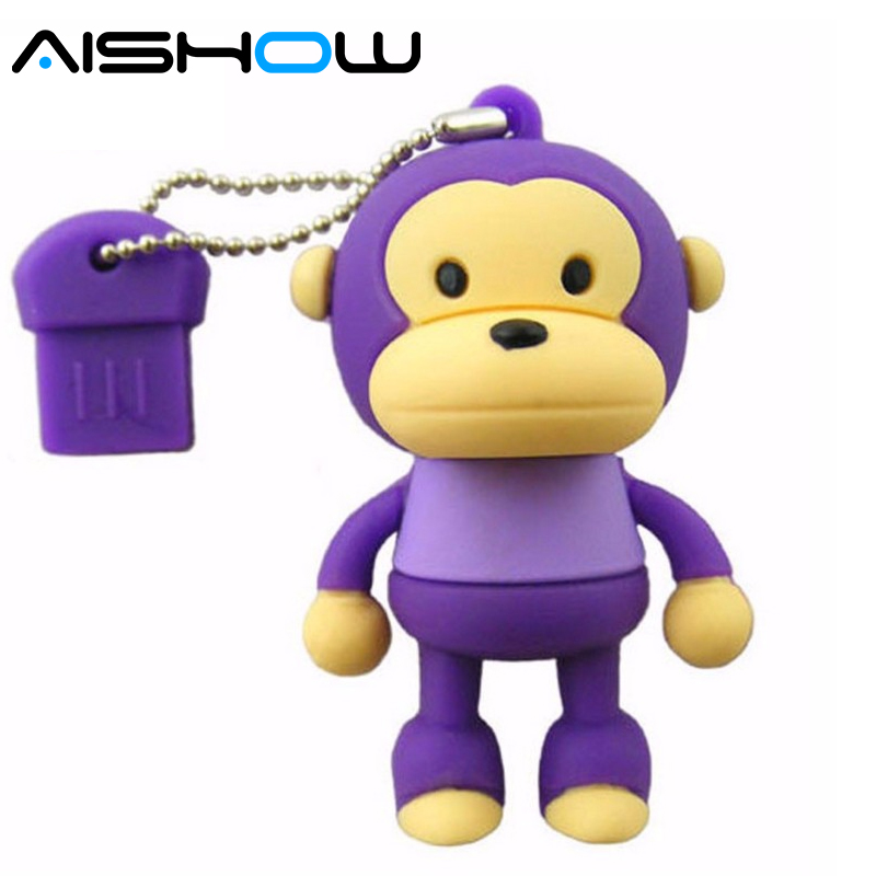 Real capacity Monkey 8gb 16g 32gb 64gb usb flash drive pen drive pendrives antivirus cartoon gift free shipping