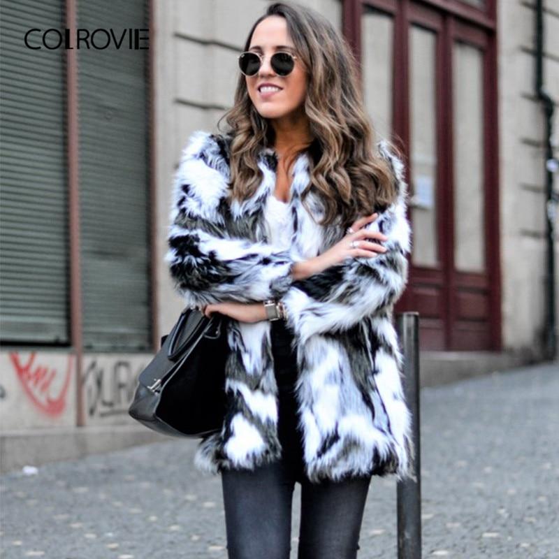 COLROVIE Faux Fur Fuzzy Coat Women ColorBlock Open Front Elegant Autumn Coats Fashion Winter Long Sleeve OL Work Coat Outerwear