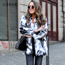 COLROVIE フェイクファーファジィコート女性カラーブロックオープンフロントエレガント秋コートファッション冬長袖 Ol ワークコート上着