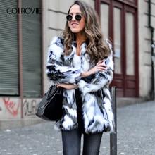 Colrovie 가짜 모피 퍼지 코트 여성 colorblock 오픈 프론트 우아한 가을 코트 패션 겨울 긴 소매 ol 작업 코트 겉옷