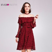 [Clearance Sale]Elegant Cocktail Dresses Ever Pretty AS05906 Off Shoulder Burgundy Short Lace Cocktail Party Dresses For Women