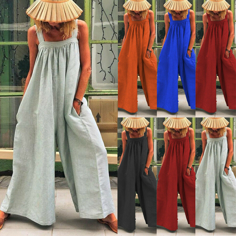 Jumpsuit Women Solid Color High Waist Rompers Boho Red Gray Spaghetti Strap Top Wide Leg Pants Female Summer 2019 Clothes Ladies