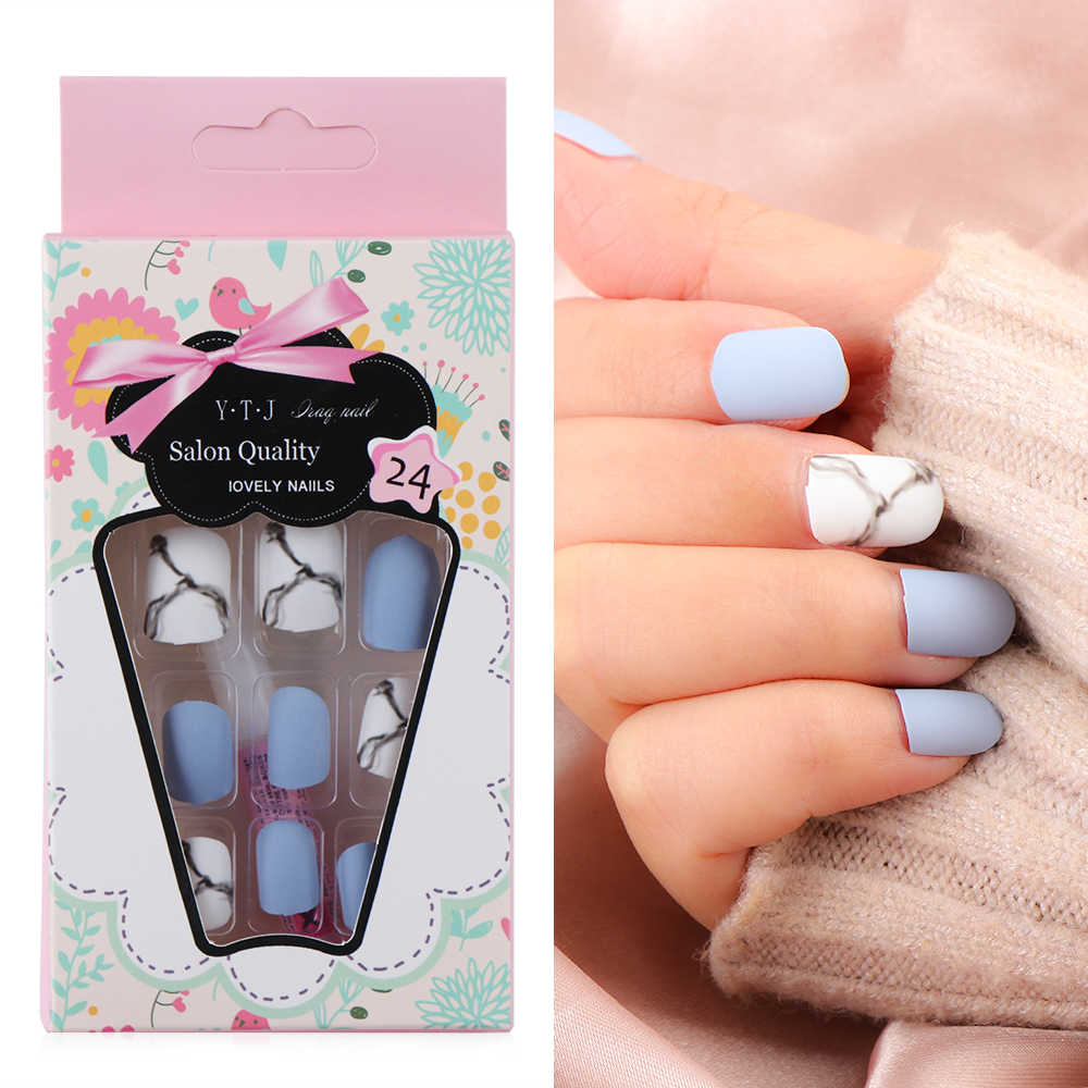 24Pcs/set White Light Blue Fake Nail Frost Matte Marble Square Artificial Nail Art Tips with Glue Sticker Home Faux Nails Art