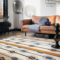 100% Wool Cotton Carpet Modern Handmade India Rug Nordic Style Living Room Tea Table Bedroom Mat.