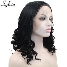 Sylvia Black Box Braided Wig For Black Women Heat Resistant Fiber Synthetic Lace Front Wig #1b Curly Braids Wig Half Hand Tied
