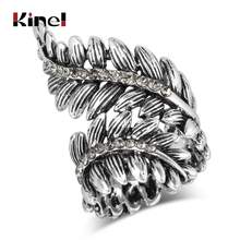Kinel Luxury Boho Women Fashion Antique Rings For Silver Color Punk Leaf Ring Vintage Jewelry Love Party Crystal Gifts 2018 New