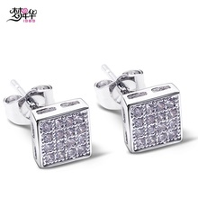 Dreamcarnival1989 Square Button Fashion Studs Earrings for Women Teenagers White CZ Paved Rhodium-Color Boucles d'oreilles 7mm