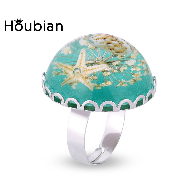 Houbian Iron Alloy Base Shell Design Pattern Ring Starfish Rings Ajustable Lace Flower Wedding Party Handmade Rings