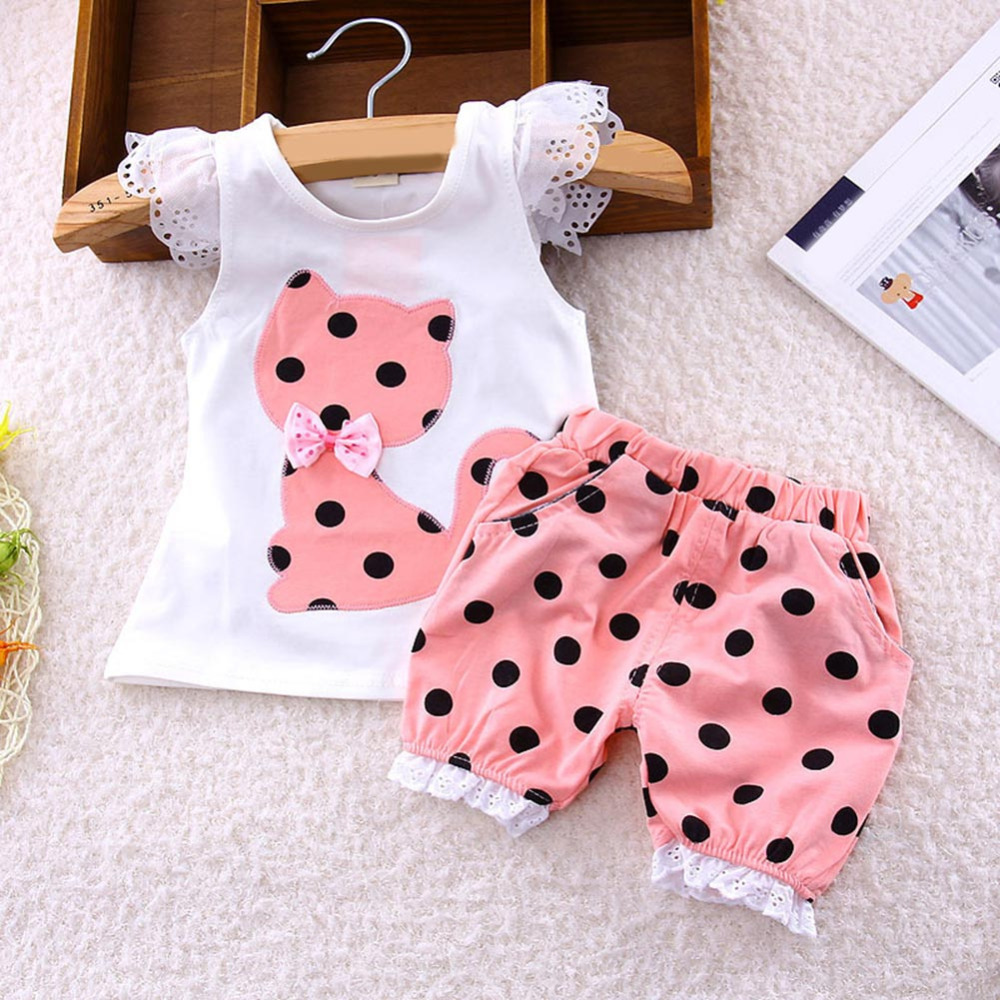 1-4 Years Old Summer Children clothing set baby girls Lace Sleeve Bow Cat Tshirt+Shorts suit 2pcs kids polka dot clothes suit Y1
