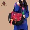Merk Dier patroon borduurwerk schoudertassen Zwart Canvas cover Etnische Messenger Tassen