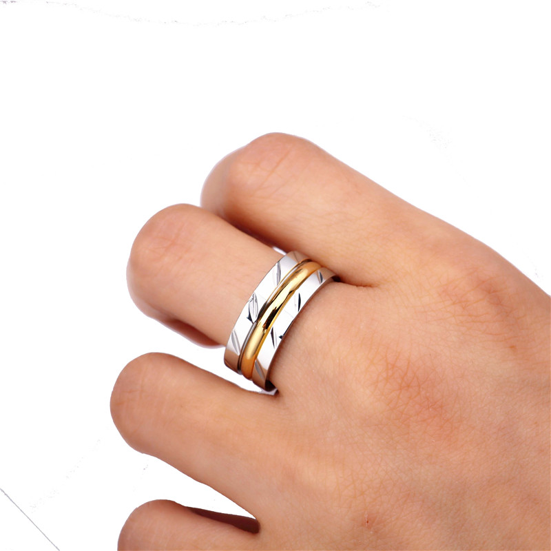 8MM Never Fade 14KGP 316l Stainless Steel Ring Titanium Steel Engagement titanyum ring ...