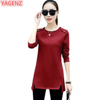 YAGENZ Long T shirts Female Black Plus size Tshirt Women's Spring T shirts Tops Demi season Fashion Loose O neck Wild Shirt 890