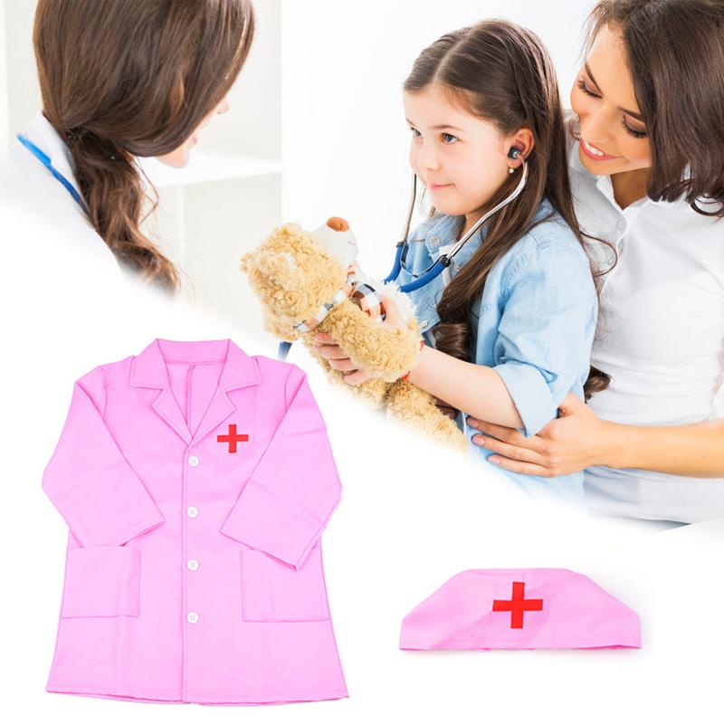 1 Set Kid Clothing Role Play Cosplay Costume Doctor Nurse  Overall White Pink Gown Nurse Uniform Educational Doctor Toy For Kids