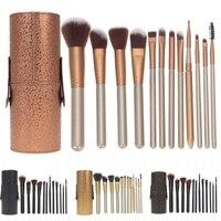 12Pcs Professioanl Makeup Brush Sets With Makeup Holder Cosmetic Foundation Powder Blending Brush Kits FE