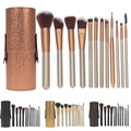 12Pcs Makeup Brush Sets Cosmetic Foundation Powder Blending Brush Kits + Wooden Holder