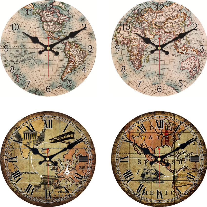 Vintage-Styled Map-Themed Wall Clock