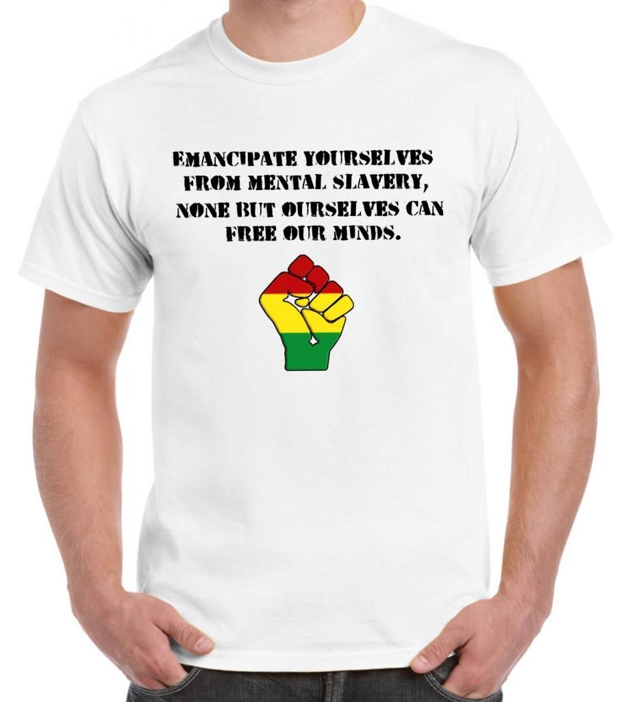 EMANCIPATE YOURSELVES MENS T-SHIRT - Reggae Rasta Bob Marley Redemption Song Comical Shirts MenS