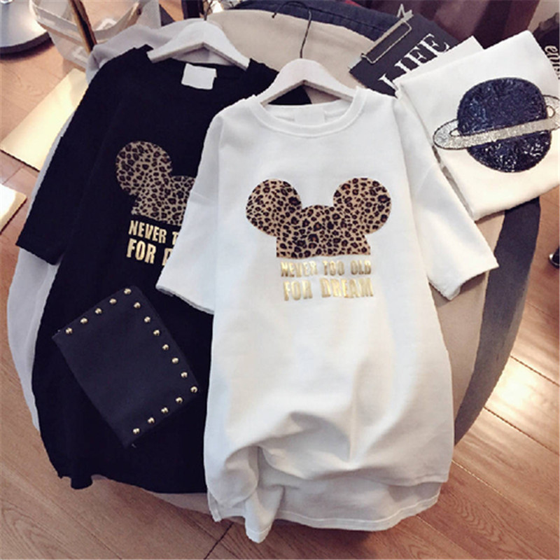 Minnie   Women Cartoon Plus Size Dresses Short Sleeve Black White Casual Mini Fashion Loose Summer Dress Leopard 2019