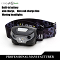 Sensor headligh XM-L  LED Rechargeable Head Torch 3 Modes Headlamp Flashlight Light Built-in lithium battery USB Charger