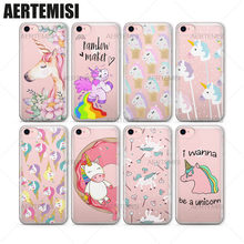 Aertemisi Phone Cases Unicorns Rainbow Maker Horns Diamonds Pops Sprinkles Clear TPU Case Cover for iPhone 5 5s SE 6 6s 7 Plus(China)
