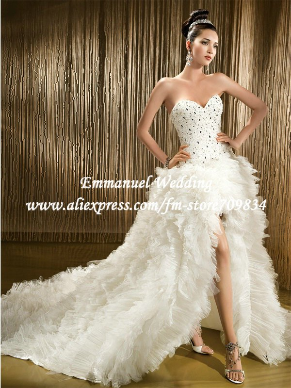 Fashion Design Ev011 Luxury Beaded Corset Top Ruffles Front Short And Long Back Wedding Dress In Dresses From Weddings Events On Aliexpress