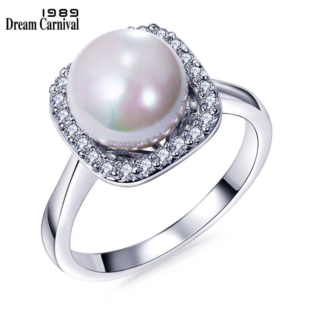 DreamCarnival 1989 Elegant Wedding Zircon Jewelry Drop Shipping Created White Pearl Rings for Women Anel Mujeres Anillos WA11063