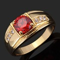 Wholesale Sale women men Fashion Ring Unisex Expensive Imitated Red Garnet Jewelry Yellow Gold Filled Anniversary Ring