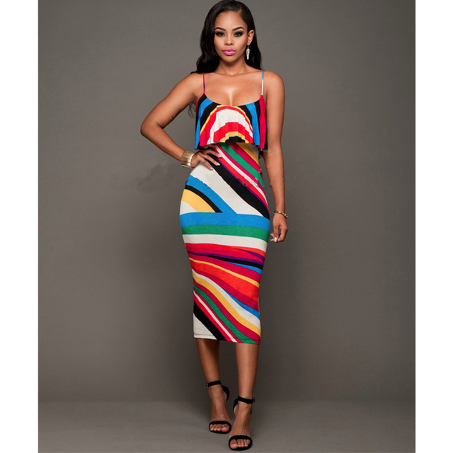 9add5a95 2017 new arrival women fashion Sling Loud Color Dress Tight sexy Printing  geometric dress Tube Top meeting clothes