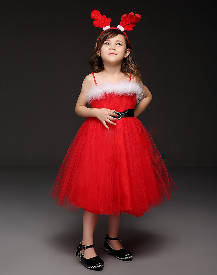 Fashion cute to t children party red christmas dress