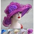 Organza Kentucky Derby Hats Wide Brim Flower Hats for Women Ladies Beach Sun Hats Female Floppy Church Hats A414