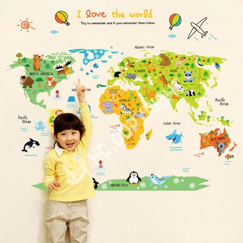 Map Of The World Kids Wall Sticker - World map for playroom