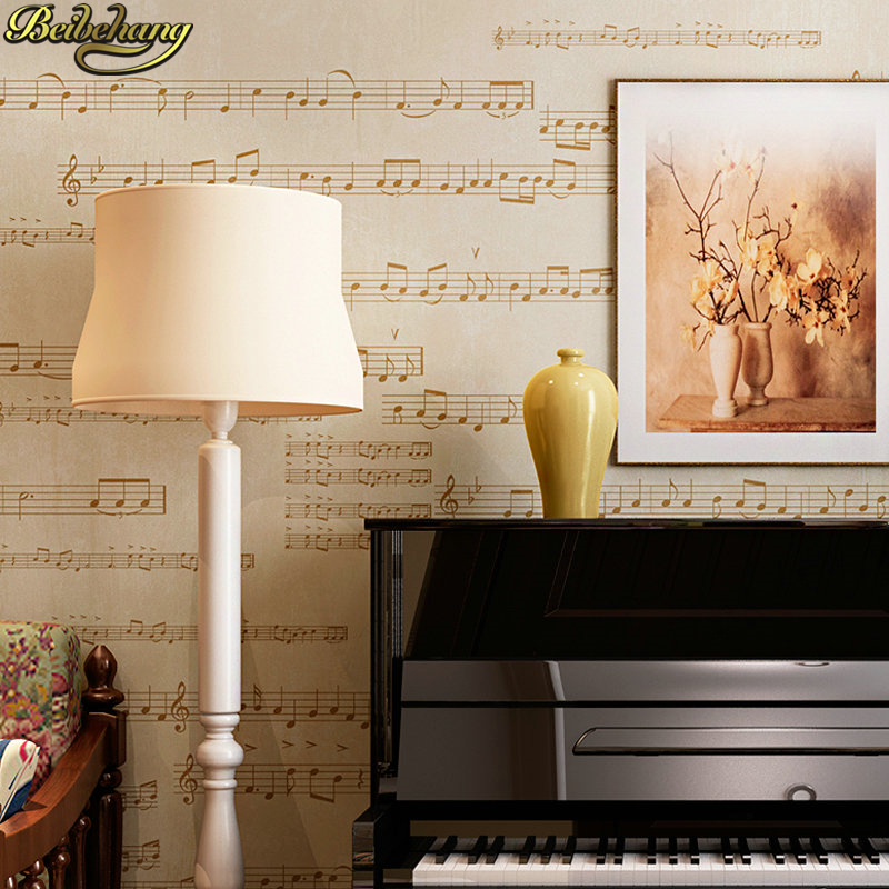 Beibehang Modern American Staff Notes Wallpaper Living Room Bedroom Piano Room Music Classroom Training TV Background Wall Paper