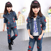 2016 spring and autumn fashion classic children's cowboy suit girls big red lips letter lovejeans two-piece sets denim