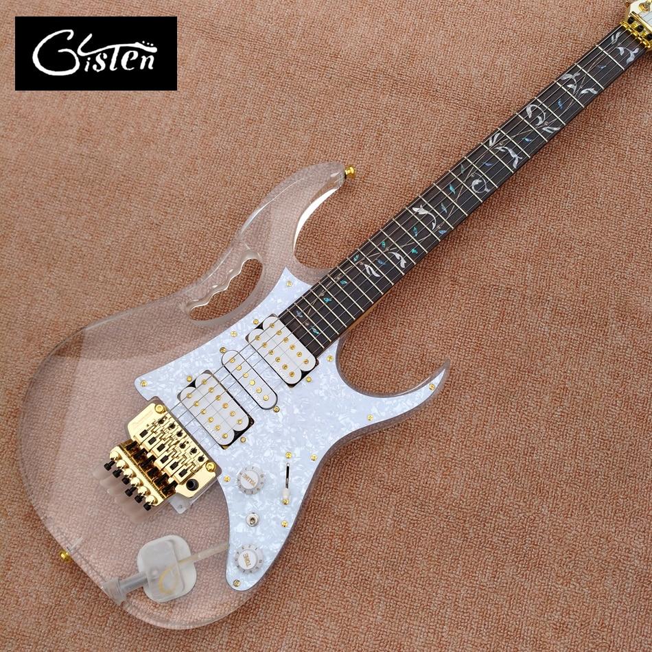 High quality custom acrylic electric guitar, tremolo bridge rosewood inlay flowers LED light electric guitar, free shipping цена и фото