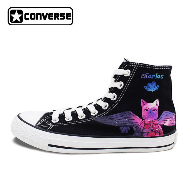 Men Women Converse All Star Galaxy Anime Shoes Fairy Tail Cat Design Hand Painted Shoes High Top Man Woman Sneakers