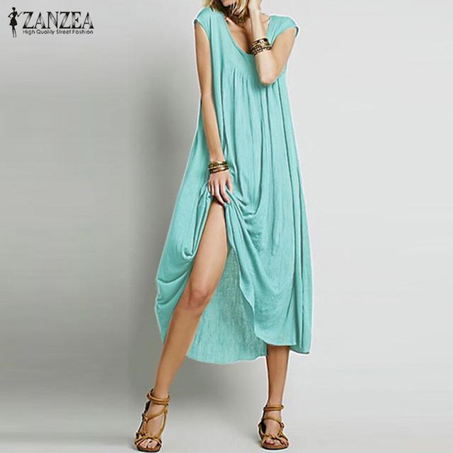 ZANZEA Fashion 2017 Women Dress Sleeveless Cotton Long Maxi Party Dresses Casual Loose Beach Vestidos Plus Size S-5XL