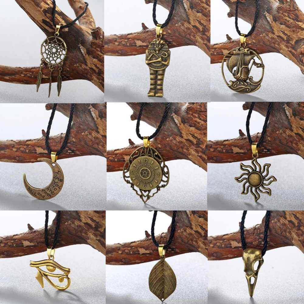 QIAMNI Antique Punk Moon Boat Eyes Amulet Pagan Valknut Viking Slavic Symbol Talisman Necklace Pendant Men Jewelry Party Gift