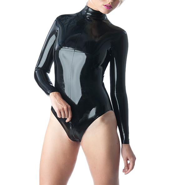 Фото Latex Leotard Sexy Black Latex Catsuit Long Sleeves Latex Rubber Jumpsuit. Купить в РФ
