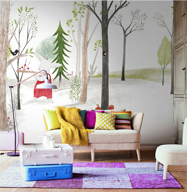 Cartoon Animal Wallpaper Mural Wall Photo For Baby Child Room Sofa Background Rabbit