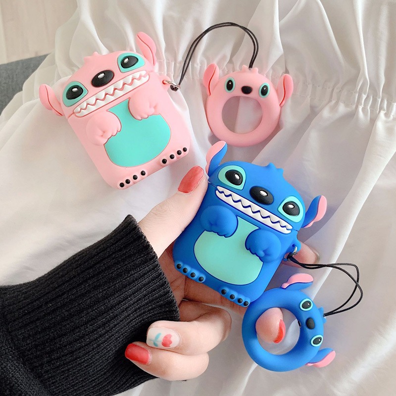 For Apple AirPods Case 3D Cartoon Stitch Earphone Cases For Airpods 2 Silicone Case Funny Headphone Accessories Covers Keychain
