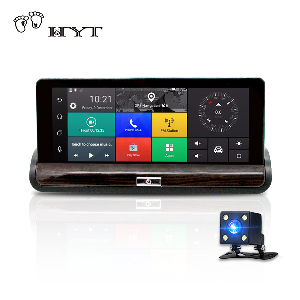 HYT H600 3G 7 Car DVR Recorder GPS navigation Android RearView dashcam with wifi car registrar Dual Lens 1080P Bluetooth usb