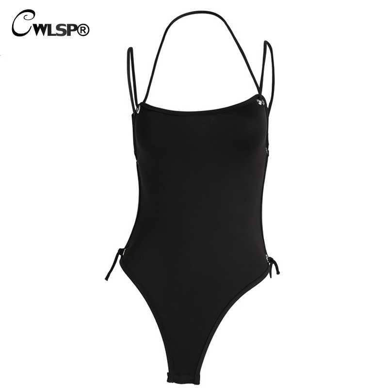 CWLSP סקסי שחור תחרה עד הלטר בגד גוף לנשים 2018 קיץ סגנון מוצק נעים קצר ללא משענת נשים בגד גוף עלי להביע את QZ2228