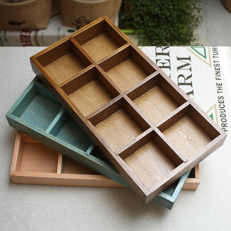 32CM Zakka 8 Grids Wooden Storage Trays 1PC Japan Style DIY Classification Small Pot Desktop Wooden