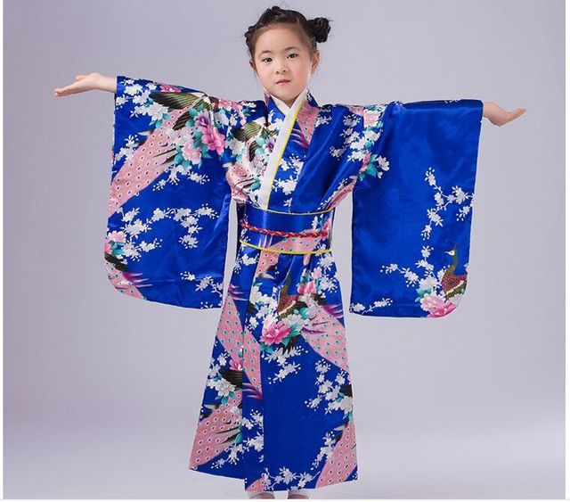 dark blue Children Yukata obi Vintage Japanese gril's ...