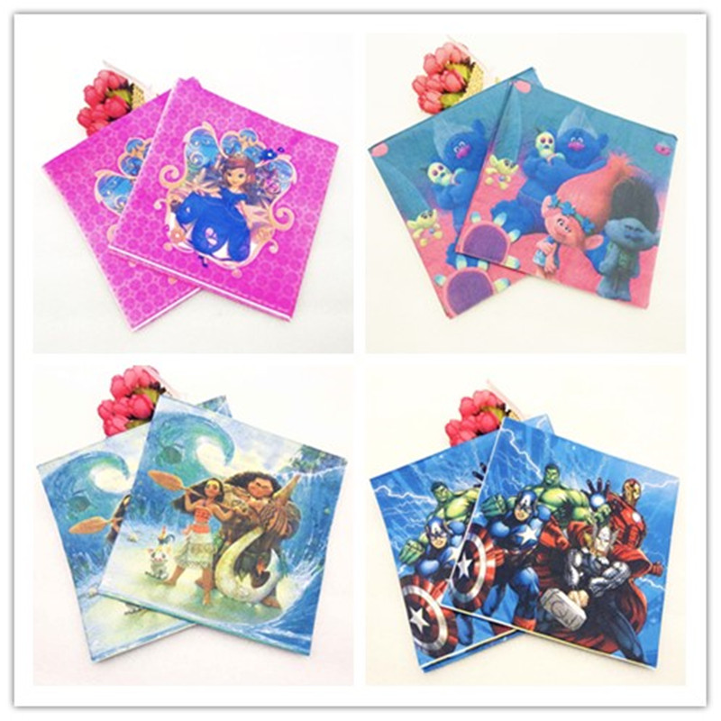 20pc Napkin Batman Mickey Minnie mouse Six Princess Pikachu Spiderman Minions Sofia Smiling Party Supplies Paper Napkin in Disposable Party Tableware from Home Garden