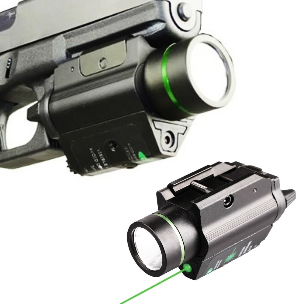 Tactical Combo Metal Green Dot Laser Sight LED Flashlight 200LM 3W with 20mm rail Weaver Picatinny For Glock 17