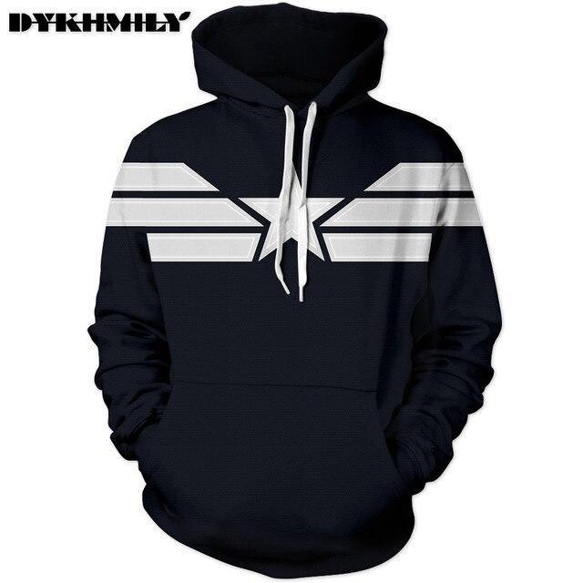 2d3243b91da1 Dykhmily Cool Black Hoodie Captain America Star Casual Hoodie Sweatshirt  Simple Design Comfortable Hoodie Sweatshirt