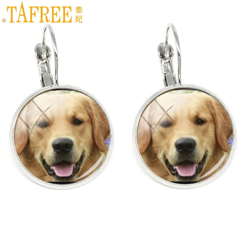 TAFREE novelty fashion dog charms color women clip earrings retriever blenheim bichon yorkie photo jewelry gifts DG19 image