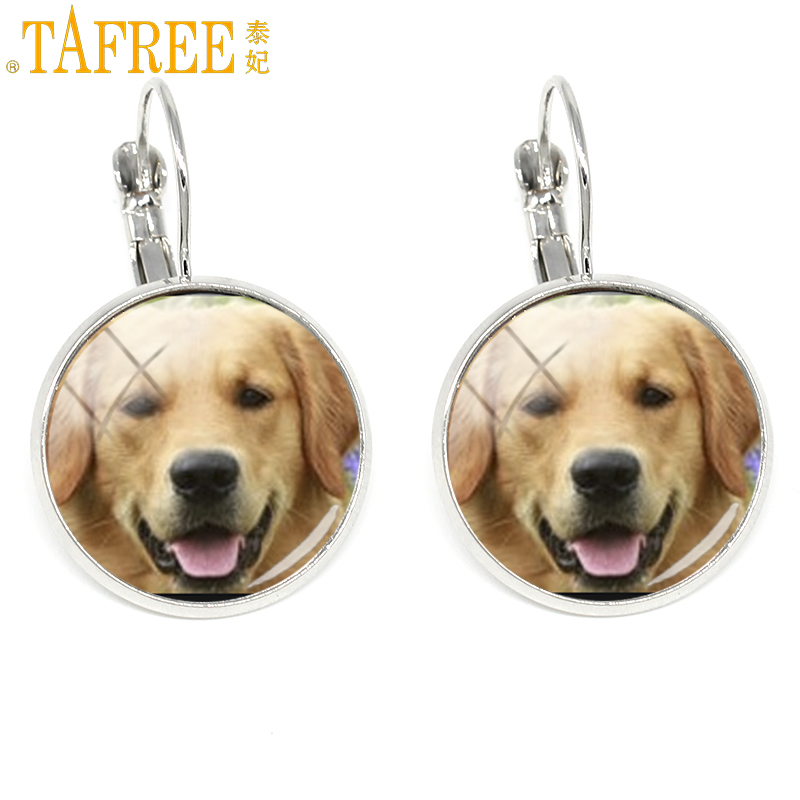 Clip Earrings Tafree Novelty Fashion Dog Charms Silver Color Women Clip Earrings Retriever Blenheim Bichon Yorkie Photo Jewelry Gifts Dg19 Jade White