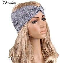Sunfree Women Headwear Twist Lace Headband Turban Headscarf Wrap Lace Cross Popper European and American retro Oct 24
